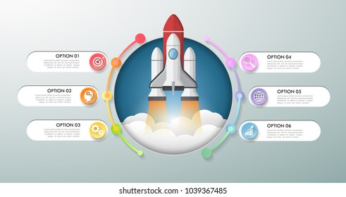 Design rocket launch infographic template 6 options. Business concept can be used for workflow layout, diagram, number options, timeline, steps, demo infographic