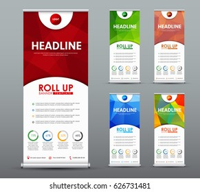 Design roll up banner for business and advertising with a red, green, blue abstract polygonal background. Template of a vertical brochure with round elements. Vector illustration