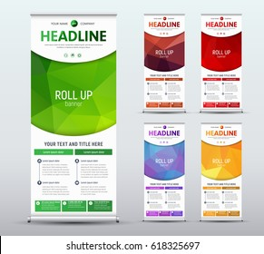 Design roll up banner standard size. Template of a vertical brochure with a semicircle for your photo. Vector illustration. Set