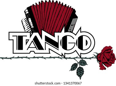Design of rose and accordion as a symbol of tango