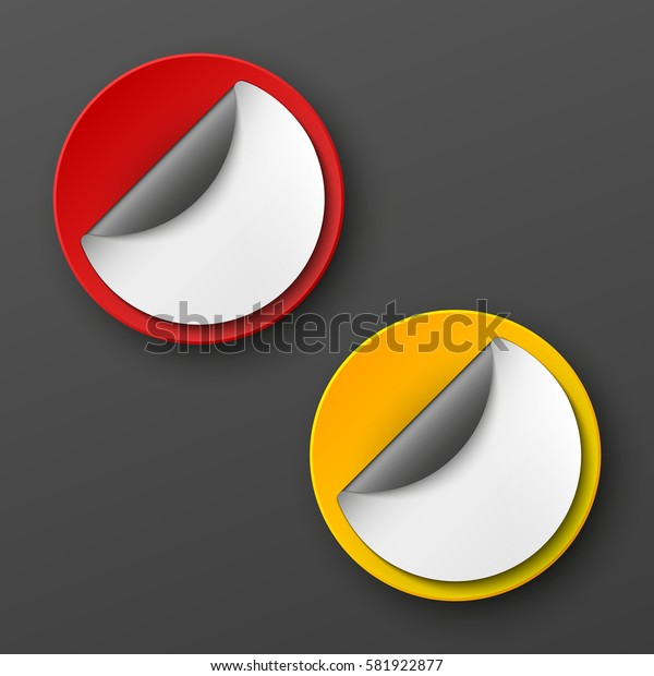 Design Round shape. Origami vector circle banner. Four color stickers inscriptions