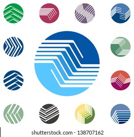 Design round vector logo template. Global world icon set. Colorful ball pattern. You can use in the construction, factories, communications, electronics, or creative design concepts