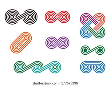 Design round wheel logo element. Abstract wave vector template set. Chinese knots icon.