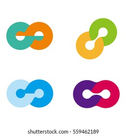 Design round wheel logo element. Abstract vector template set. Knots icon. You can use in the media, alliances, environmental protection, mutual aid associations and other social welfare agencies.