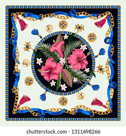 Design scarf with belts, chains and tropical leaves and flowers. Trendy fashion print