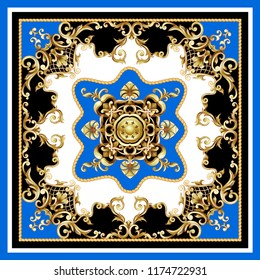 Design scarf with golden baroque elements.