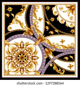 Design scarf with golden baroque elements and chains. Vector.