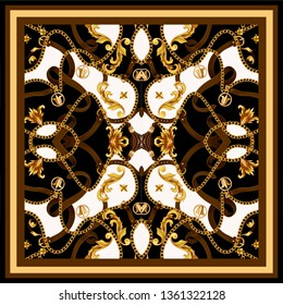 Design scarf with golden baroque elements and belts.