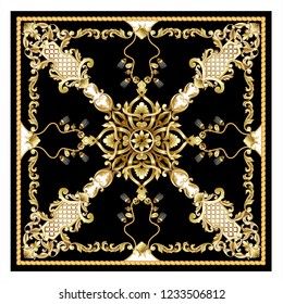 Design scarf with golden baroque and knotting elements.
