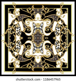 Design scarf with leopard skin and golden baroque elements.