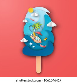 Design the sea in ice cream shape with beach equipment on red background. Graphic design for Summer. Paper art and craft style. vector, illustration.