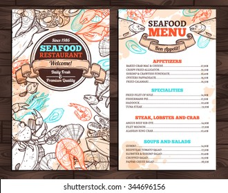 Design Of Seafood Menu In Sketch Style