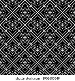Design seamless decorative pattern. Abstract monochrome grating background. Vector art