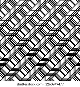 Design seamless monochrome geometric pattern. Abstract zigzag background. Vector art
