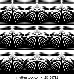 Design seamless monochrome shell pattern. Abstract striped background. Vector art. No gradient