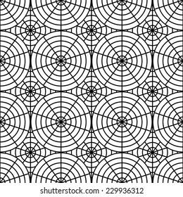 Design seamless monochrome spider web pattern. Monochrome geometric circular diagonal background. Vector art