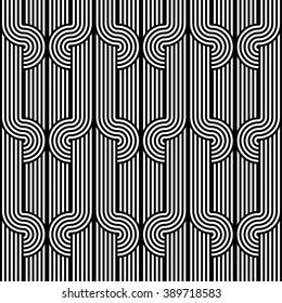 Design seamless monochrome waving pattern. Abstract stripy background. Vector art