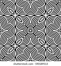 Design seamless monochrome waving pattern. Abstract striped background. Vector art