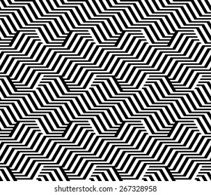 Design seamless monochrome zigzag geometric pattern. Abstract striped background. Vector art