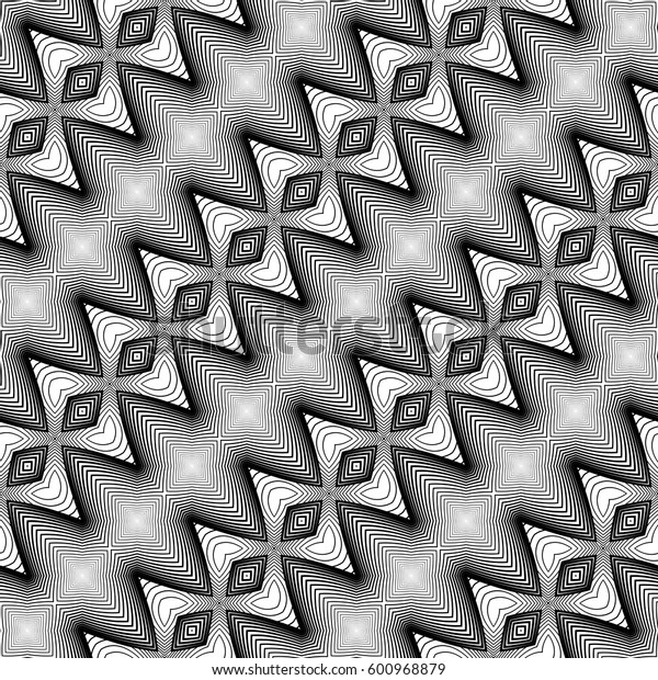 Design seamless monochrome zigzag pattern. Abstract textured background. Vector art. No gradient