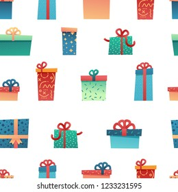 Design seamless pattern for christmas background. Wallpaper with trendy illustration flat present and gift box decoration for bithday and holiday.  For fabric and textile. Celebration backdrop. Vector