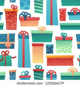 Design seamless pattern for christmas background and Wrapping paper. Wallpaper with illustration present and gift box decoration for bithday and holiday.  backdrop fabric and textile. Vector