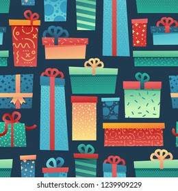 Design seamless pattern for christmas background and Wrapping paper. Wallpaper with illustration present and gift box decoration for bithday and holiday.  Ornament on dark navy backdrop. Vector.