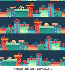 Design seamless pattern for christmas background and Wrapping paper. Wallpaper with illustration present and gift box decoration for bithday and holiday.  Ornament on blue navy backdrop. Vector.