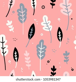 Design of a seamless pattern with a decor of flowers, leaves and twigs. A gentle background in the Scandinavian style of minimalism. Modern wallpaper in the style of a huggie. Vector.