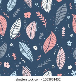 Design of a seamless pattern with a decor of pink flowers, blue leaves and twigs. A gentle backdrop in the Scandinavian style. Modern wallpaper in the style of a huggie on navy background . Vector.