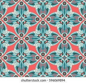 Design of Seamless pattern with floral ornament in retro style. Vector illustration.