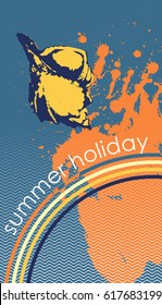 Design with seashells as symbol of summer vacation. Engraved style. Vector illustration