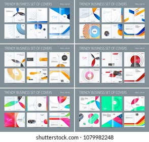 Design set of abstract double-page brochure with colourful circles, quares, triangles for branding. Business vector broadside.