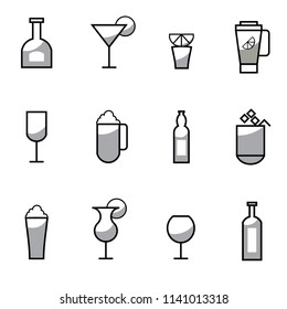 design set of black and white  icons silhouette alcohol drinks martini wine beer brandy coctail cup mixer ice glass bottle  lemon vector illustration for bar or restaurant white background