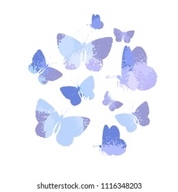 Design, set of  blue silhouettes watercolor butterflies isolated on white background. Art vector illustration.