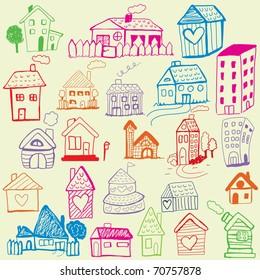 Design set: Child Like Drawn Houses