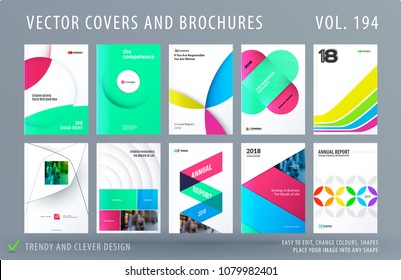 Design set of colourful abstract templates for business, trendy shapes, circles, rounds, rectangles, triangles.