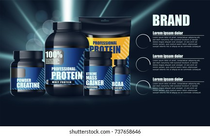 Design for set of containers for sports nutrition. Vector illustration.