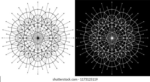 Design set with cosmic circle abstract pattern on white and black background. Esoteric and occult concept with sacred geometry elements, graphic vector illustrations for music album cover, t-shirts