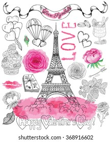 Фотообои Design set with the Eiffel Tower, roses, text, banner and love symbols. Line art doodle illustration with hand drawn elements. Valentine's Day and holiday theme