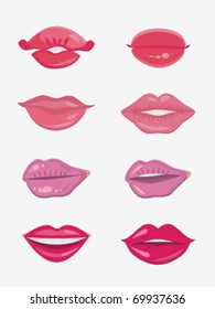 Design set of eight female lips. Beauty and make-up. Vector illustration