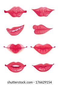 Design set of eight hot pink female lips. Beauty and make-up