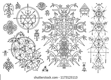 Design set with gothic abstract patterns and mystic symbols on white. Esoteric, occult and Halloween concept with sacred geometry elements, graphic vector illustrations for music album cover, t-shirts