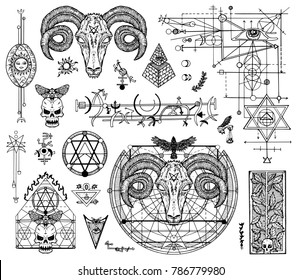 Design set with graphic drawings of mystic and religions and devil symbols. Freemasonry and secret societies emblems, occult and spiritual mystic drawings. Tattoo design, new world order