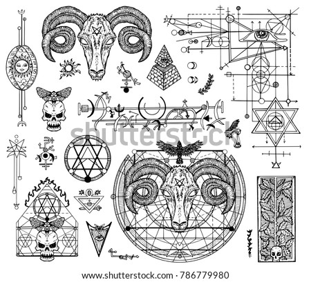 Design Set Graphic Drawings Mystic Religions Stockvector