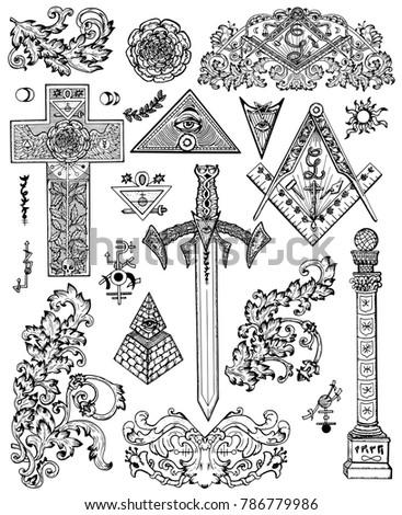 Design Set Graphic Drawings Mystic Religious Stock Vector Royalty