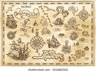 Design set with nautical decorative elements, fantasy creatures, pirate treasure map details. Pirate adventures, treasure hunt and old transportation concept. Hand drawn vector illustrations