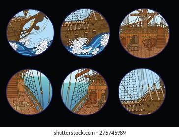 Design set with old sailing ship elements in round frames on black background, hand drawn illustration