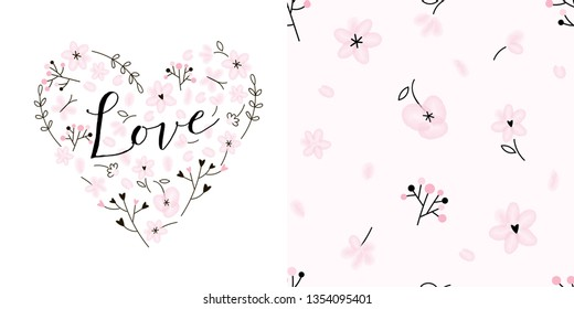Design set of Pink floral heart with love calligraphic inscription and Gentle tiny floral seamless background. Lovely girlish themed pink coloured vector graphics for apparel t-shirt print, textile