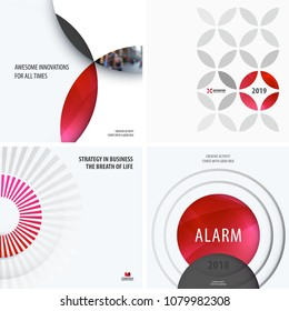 Design set of red colourful abstract vector elements for modern background with circles, squares, triangles, smooth shapes